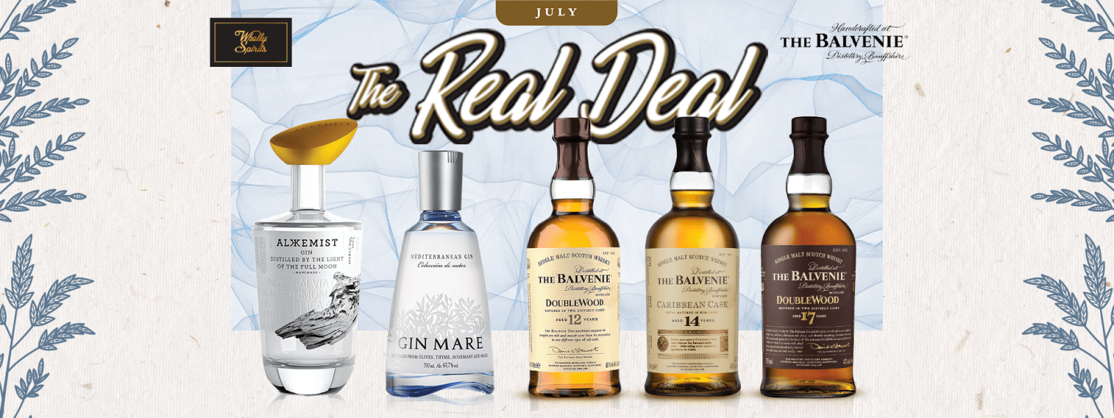 The Balvenie Returns in July Real Deals, With Alkkemist Gin and Gin Mare!